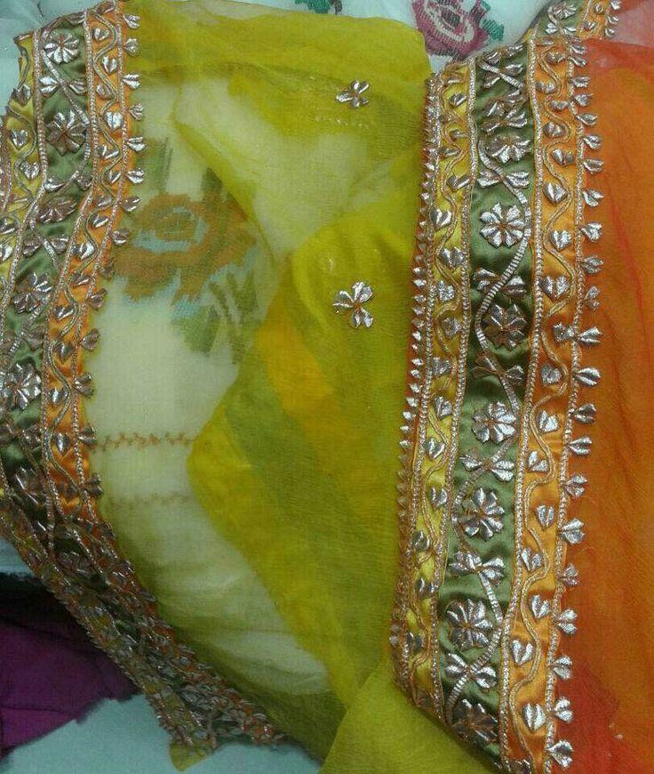 Orange n yellow pakistani suit material