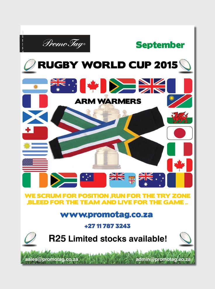 Rugby World cup armwarmers