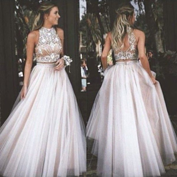 2016 Sexy Two Piece Prom Dress High Neck Tulle with Rhinestone Dresses