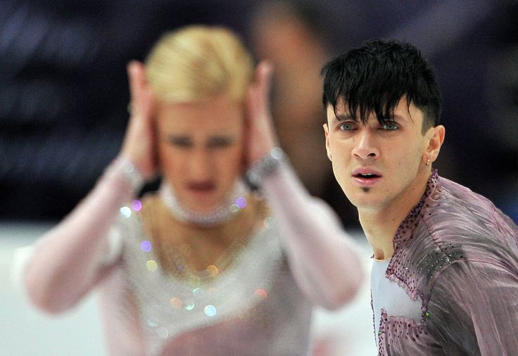 Russians Tatyana Volosozhar and Maxim Trankov, who won first place, perform an arbitrary program at the competitions of the fourth stage of the Grand Prix of figure skating.