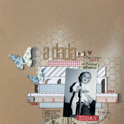 "Matériel utilisé disponible chez Scrapfuté www.scrapfute.com : Papiers Teresa Collins ""He said she said"" Die'namics High rise alphabet lower set Kesi'art Metalliks Papillons Kesi'art Posh! mask losange Kesi'art Pschhiitt Pure couture Tampons Ali Edwards Tampon dateur Kesi'art Embellissement wood veneer Studio calico"