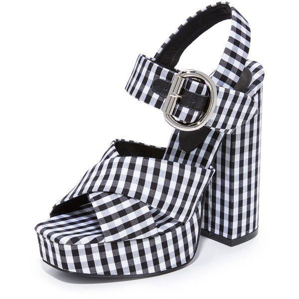 Jeffrey Campbell Elvina Gingham Platforms (465 BRL) ❤ liked on Polyvore featuring shoes, sandals, jeffrey campbell footwear, jeffrey campbell, platform shoes, jeffrey campbell sandals and buckle strap sandals
