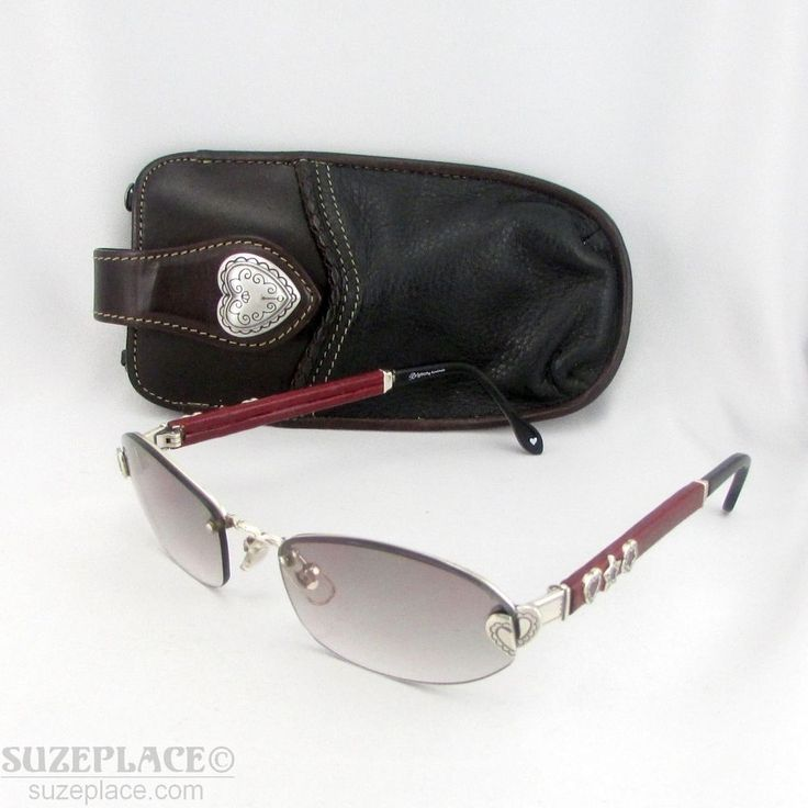 BRIGHTON MISTY HANDMADE SUNGLASSES WITH LEATHER CASE SILVER CHARMS ON FRAME  #Brighton #Sunglasses #hearts www.SuzePlace.com