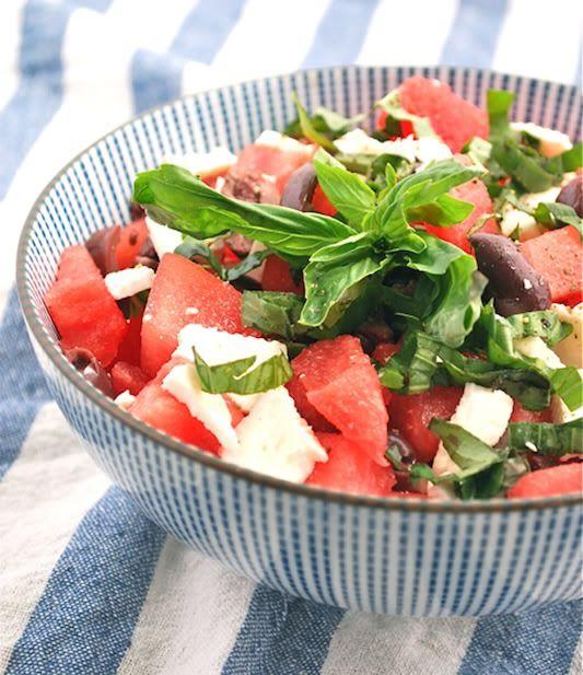 watermelon & feta salad: Olive Oil, Watermelon Salad, Idea, Watermelon Feta Salad, Food, Summer Salads, Favorite Recipes