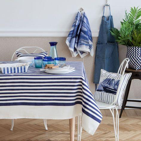 baumwolltischdecke und serviette mit meeresmotiv. Black Bedroom Furniture Sets. Home Design Ideas
