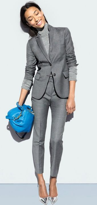 well fitted + cropped grey suit x J. Crew   Skirt the Ceiling   skirttheceiling.com