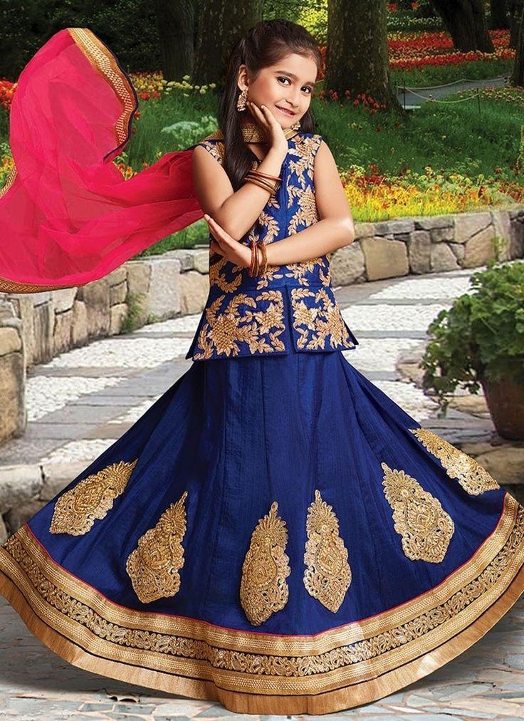Blue Silk #GirlsLehengaCholi With Embroidered,Lace Works. Order Girls Lehenga Choli Online @Chennaistore.com