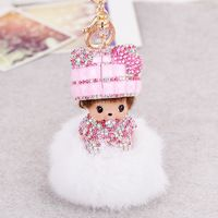 12 color Monchichi sleutelhanger pompom keychain crystal cute dolls fur key chains Monchhichi women handbag charms pendant