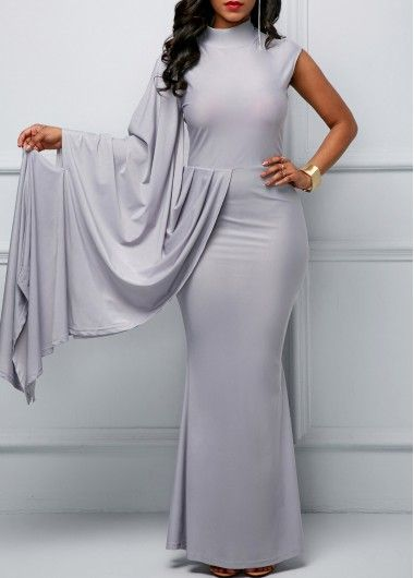 Grey High Neck One Sleeve Maxi Dress.