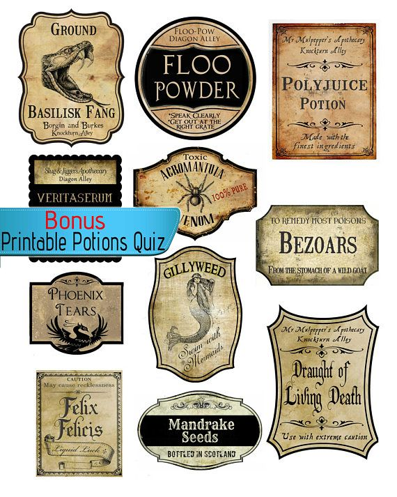 graphic regarding Printable Harry Potter Potion Labels referred to as Acceptable Do-it-yourself Labels, Influenced through Harry Potter Wizard