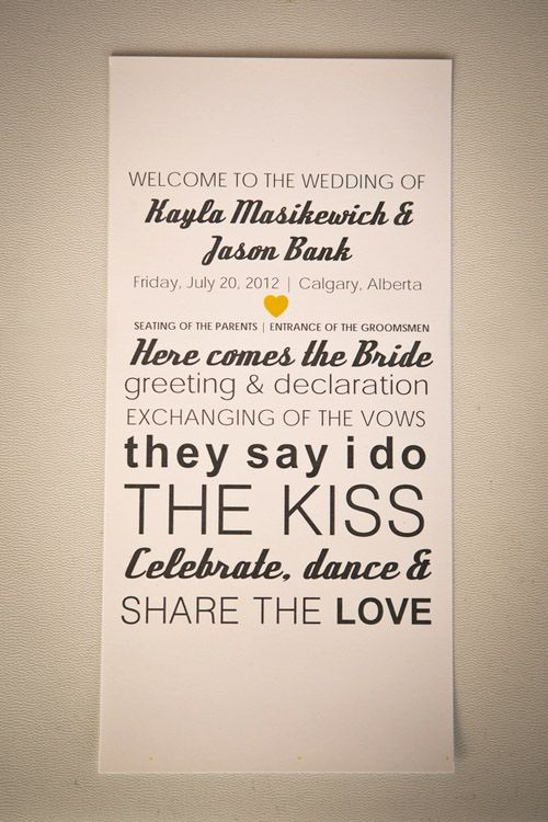 modern wedding program idea - ideally on a chalk board
