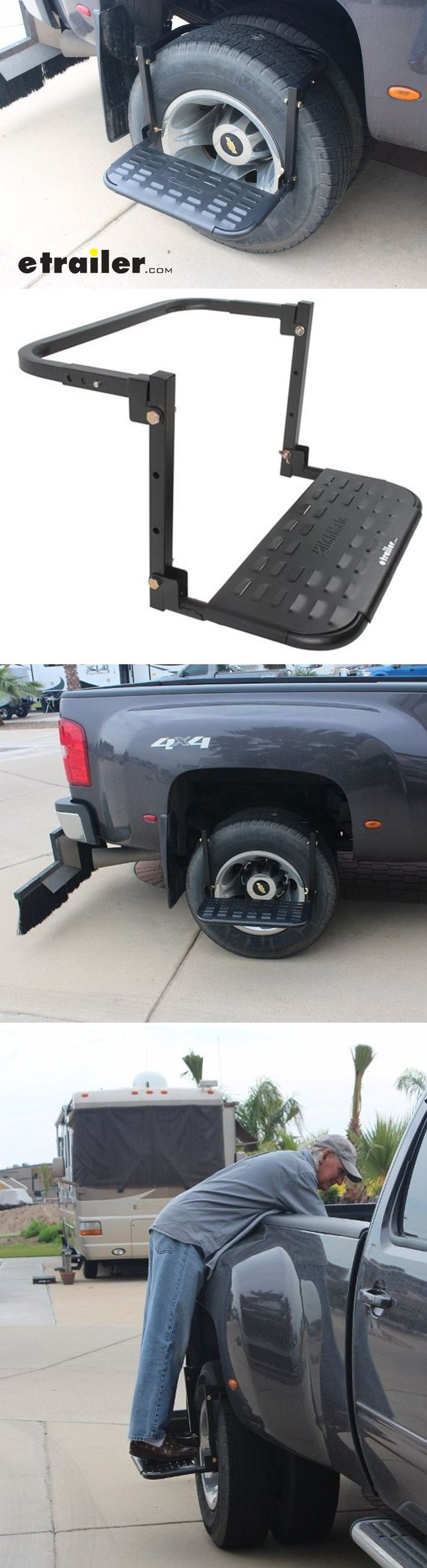 Easily reach your vehicle's roof with this unique, removable step. Simply place the arms over your tire and adjust to fit, and you'll have a stable platform that supports up to 400 lbs. Perfect compact vehicle accessory to keep on hand when you need a step up!