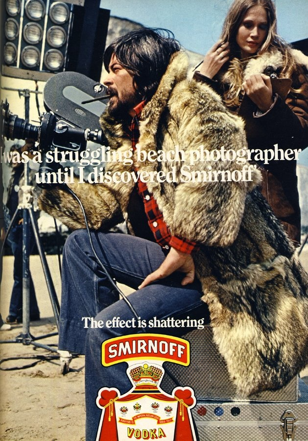 """""""I was a struggling beach photographer until I discovered Smirnoff"""" (vintage ADs)    -sub metalsmith for photographer and thats me. vodka is my day job: Pub Reclam Advertising Vintage, Wear Coats, Discovered Smirnoff, Struggling Beach, Vintage Ads, Vintage Advertisements"""