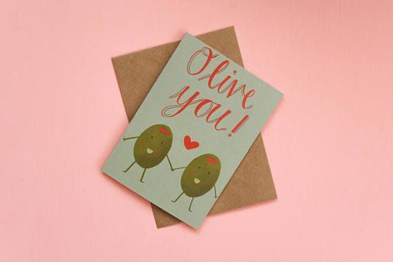 Olive you greeting card / A6 love greeting card with olive and heart illustration and pun / Printed on recycled card with brown envelope