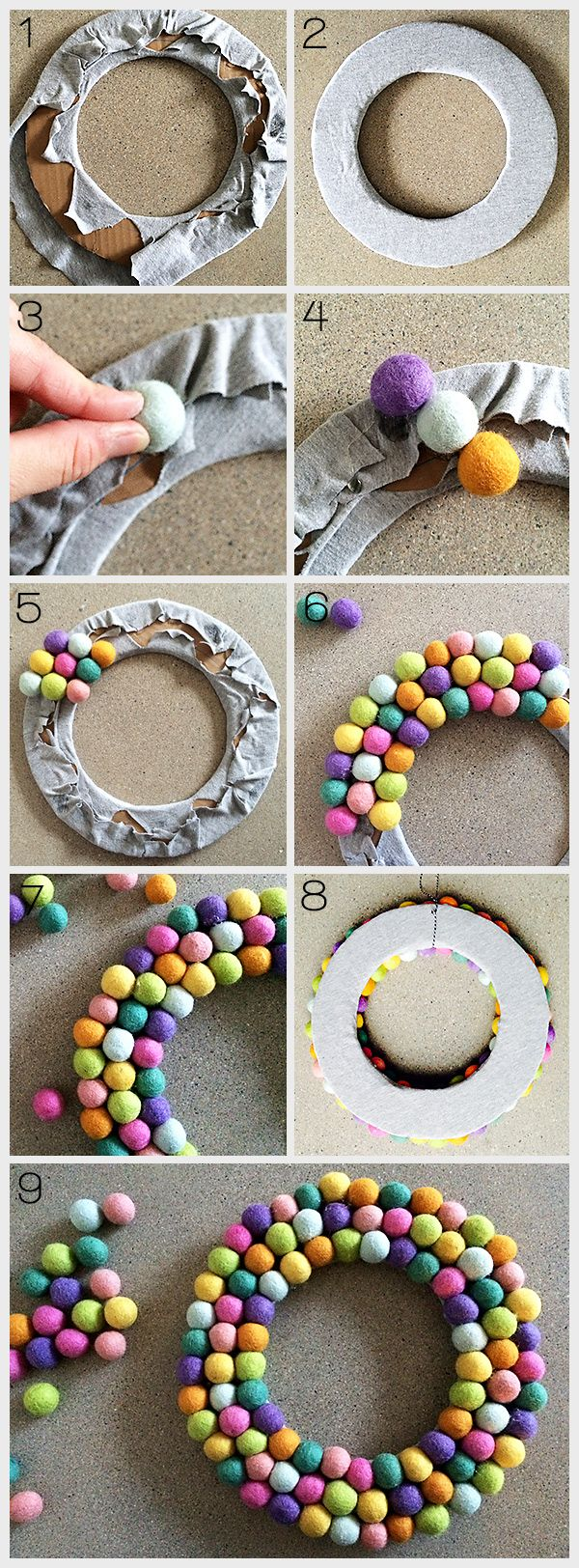 Check out this easy to make, whimsical DIY felt ball wreath!