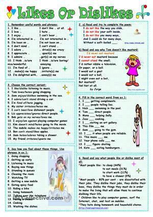 Likes Or Dislikes worksheet - Free ESL printable worksheets made by teachers