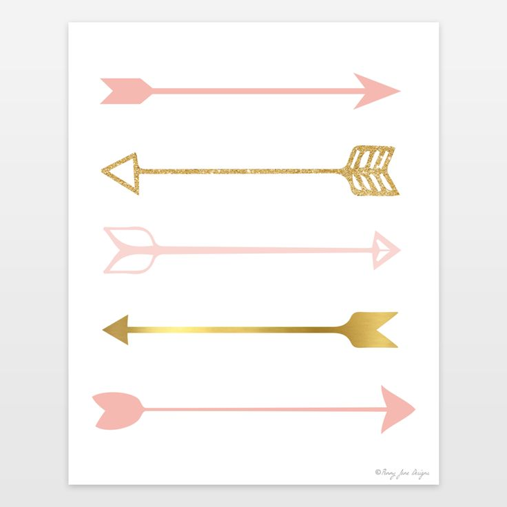 Pink and Gold Arrows Art Print for Nursery Decor