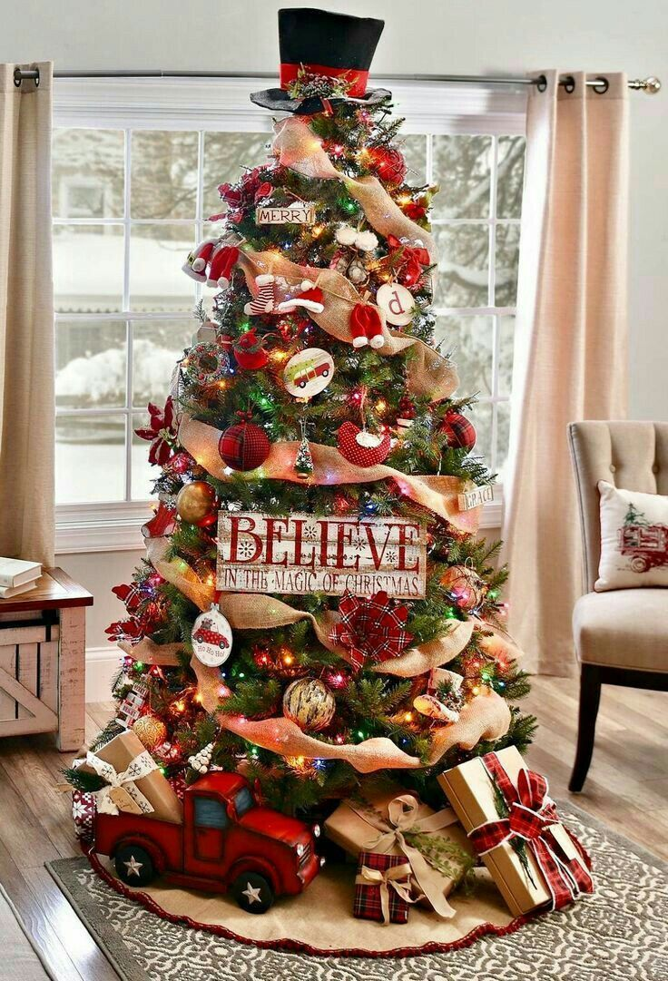 Red Green Burlap Trucks Cool Christmas Trees Christmas Decorations Rustic Tree Rustic Christmas Tree