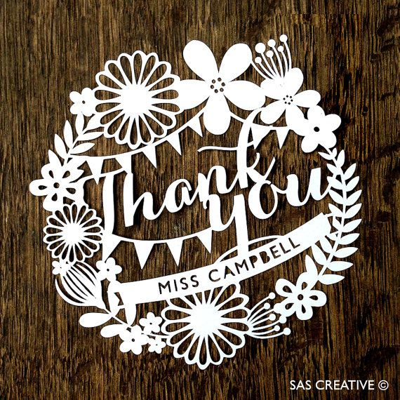 Personalised Papercut Template Thank You Card PDF Jpeg SVG