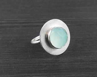 Aqua blue chalcedony disc ring