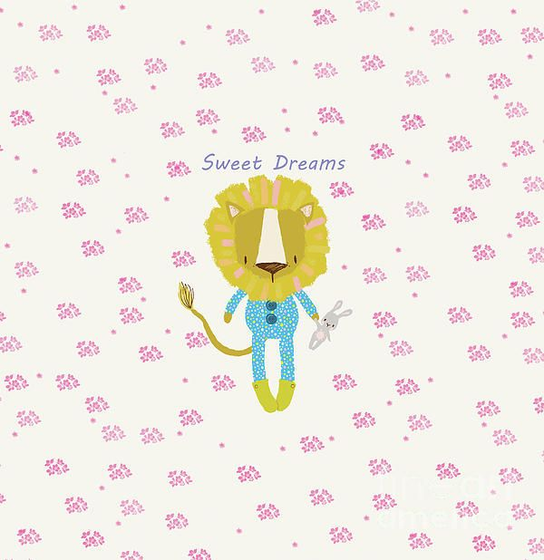 Cute lion cartoon print. With pink flowers and sweet dreams