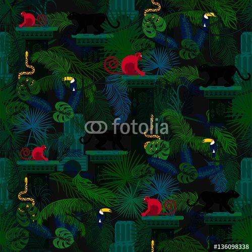 Rainforest wild animals and plants seamless vector pattern. Panther and monkey in the dark jungles.-big