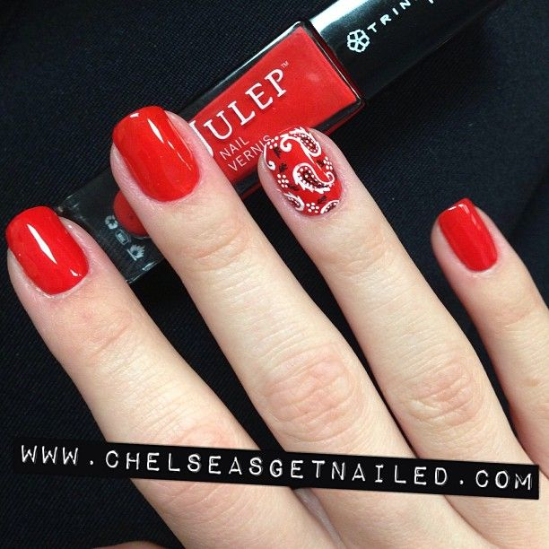 Bandana nails with @julepmaven Delaunay - the perfect red!