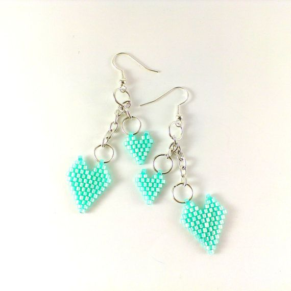 Mint green earrings Beaded earrings Mint earrings Seed bead earrings Small hearts gift Mint jewelry Mint wedding Serenity earrings