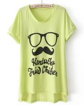 Green Batwing Sleeve Glasses Beard tshirt