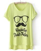 Green Batwing Sleeve Glasses Beard tshirt
