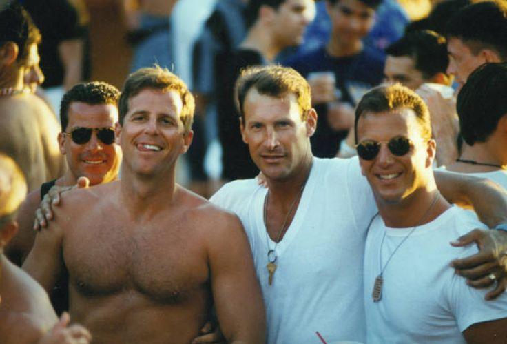 Scott Hitt with three men :: ONE National Gay and Lesbian Archives