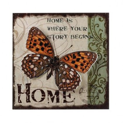 <p>Come home to a beautiful butterfly and the reminder that Home is where your story begins. This iron wall art features a beautiful background and a highly detailed cutout butterfly wings embellishment.</p>
