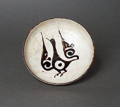 Plate Iran, Nishapur Plate, 10th century Ceramic; Vessel, Earthenware, white slip, slip-painted in black under a transparent glaze
