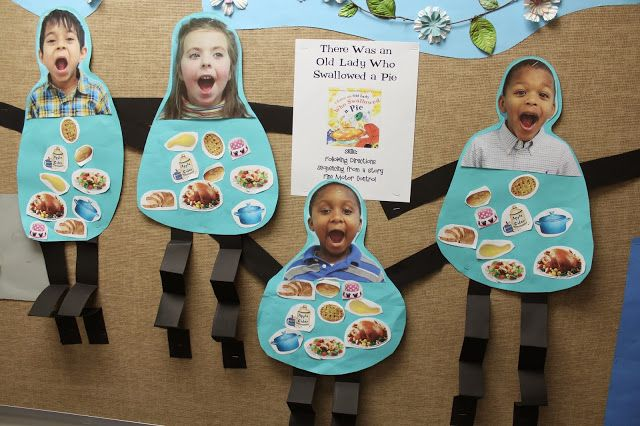 Sequencing/Fine Motor Activity for Book, There Was An Old Lady Who Swallowed a Pie (from Teach Them To Fly)