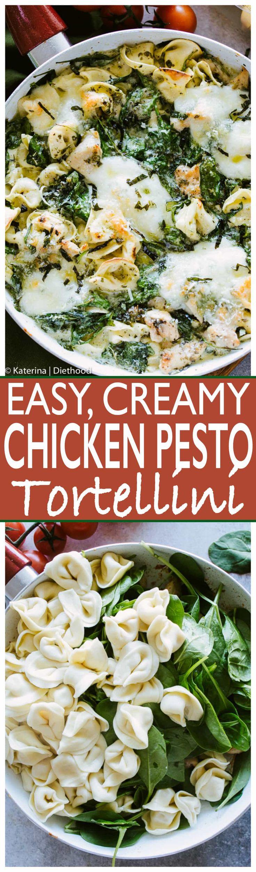 Easy Creamy Chicken Pesto Tortellini - Delicious, super easy dinner with creamy, cheesy tortellini, basil pesto, cchicken and spinach.
