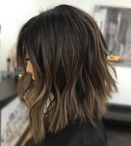 Choppy Angled Brunette Long Bob Hairstyle