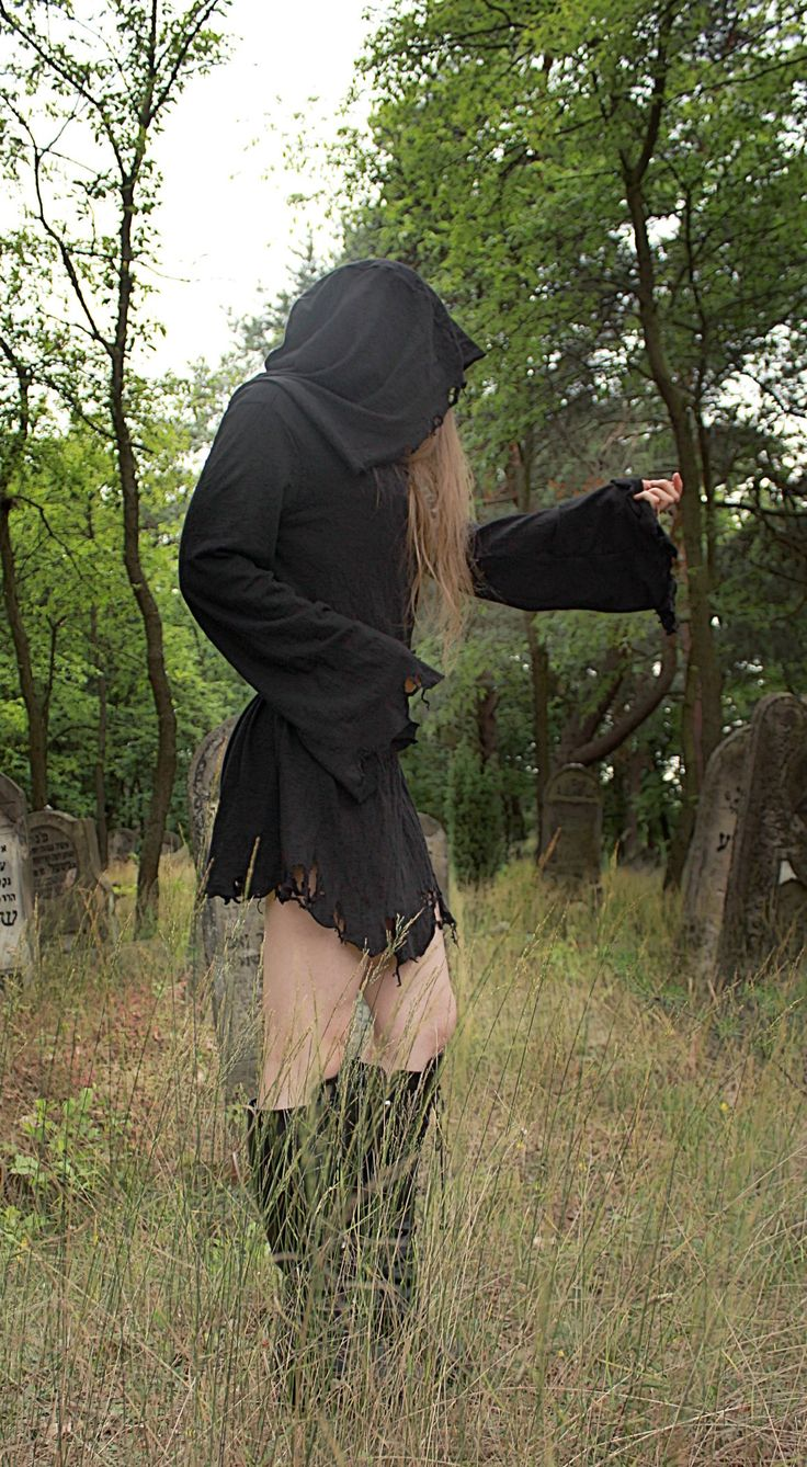 --> STRICTLY LIMITED TO A SINGLE PIECE!!! <--Ripped short dress with a huge hood and wide extra long sleeves. Made of soft ORGANIC cotton. Fully handcrafted. One of a kind; as unique ...