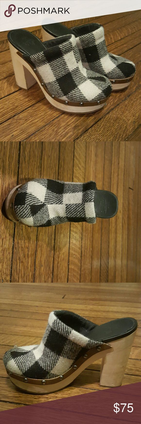 """Woolrich Journalist platform Mule/clog Black and white plaid wool clogs with studded leather detail on a chunky 5"""" platform heel.  Comes with original box,  only worn a few times Woolrich Shoes Mules & Clogs"""
