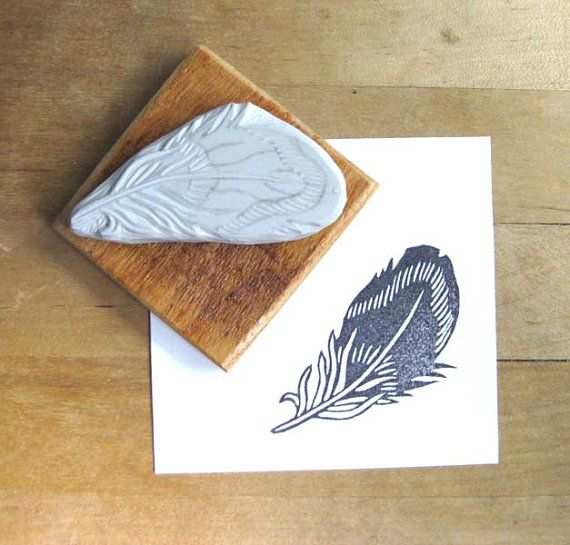 DIY Idea Striped Feather - Hand Carved Stamp
