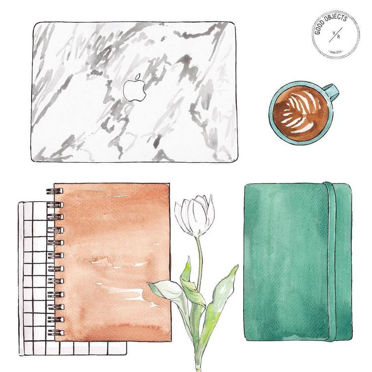 Good objects - So much work, so little time for emails….. #goodobjects #watercolor #illustration