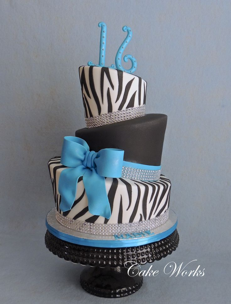 Zebra stripes and bling - what a perfect combo for a sweet 16 cake!  This is one of my favorite color combinations too.