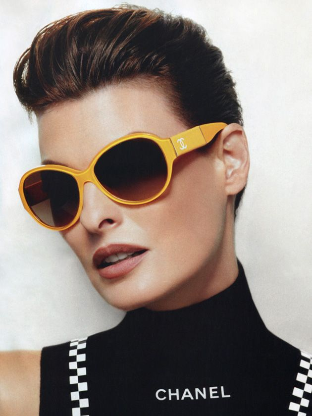 Karl Lagerfeld shoots supermodel Linda Evangelista for the SS12 Chanel Eyewear campaign.