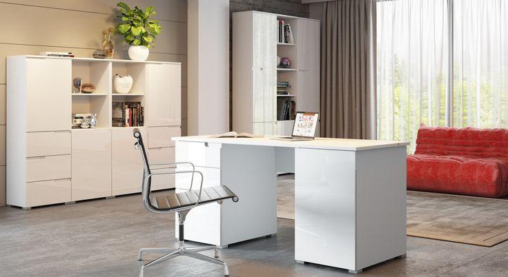 Biały kolor podkreślony wysokim połyskiem, pozwala na stworzenie nowoczesnego wnętrza #meble #szynakameble #furniture #inspiracja #inspiration
