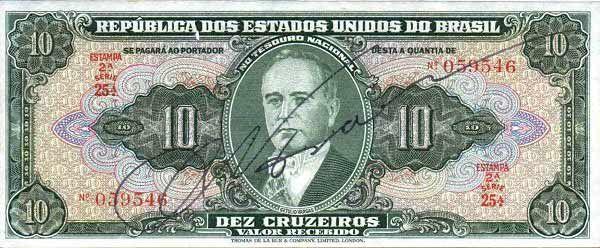 10 Крузейро (1950) Бразилия (Brazil) Южная Америка