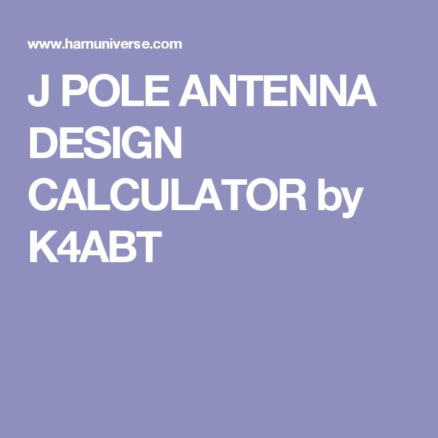 Open Stub J Pole Calculator