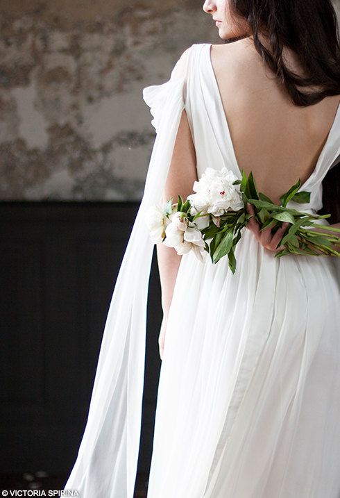 Lace wedding dress Low back wedding dress for a pregnant bride