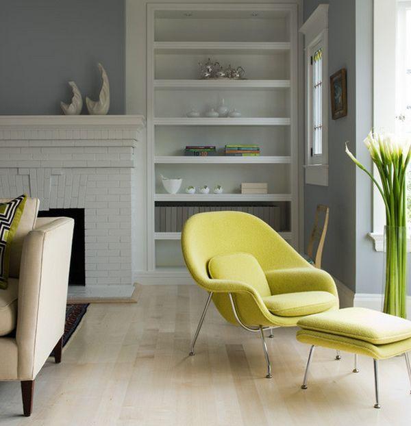 Womb chair gelb weiß