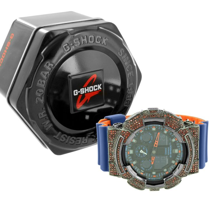 Iced Out G-Shock GA100L-2A Blue Orange Watch Red Simulated Diamond Ana-Digital