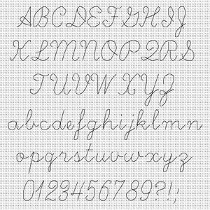 cursive cross stitch font - Google Search                                                                                                                                                                                 More