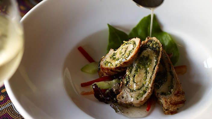 Rolled veal with Warrigal greens pesto | This veal dish uses Warrigal greens that are native to the east coast of Australia, but can be substituted with English spinach. Chef Mark Olive recommends flattening the veal out to 5mm thick with a mallet to make the rolling process easier.